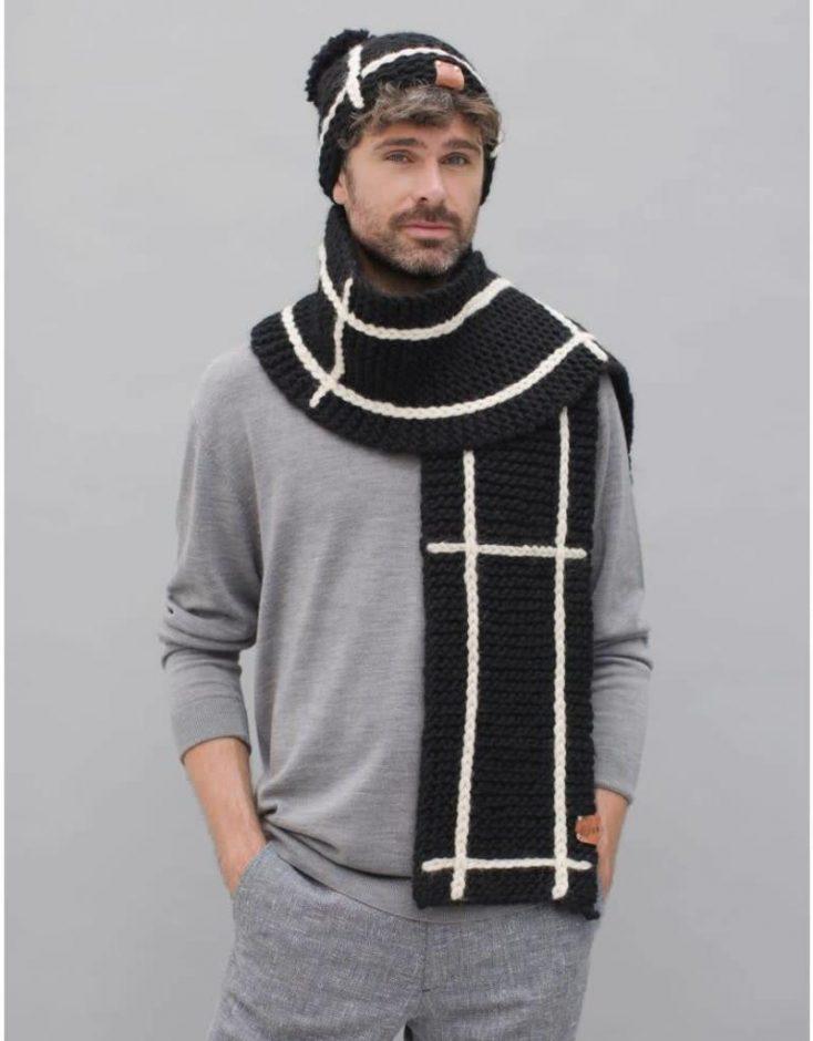 gebreide sjaal noa zwart met witte streep duurzaam2